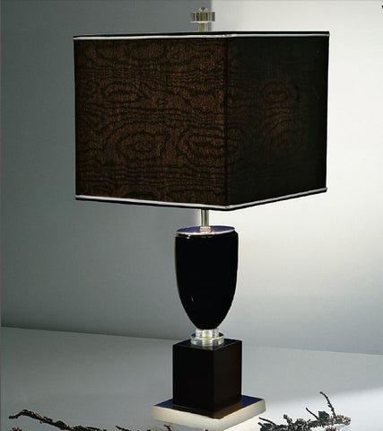 Belgian black marble and crystal table lamp