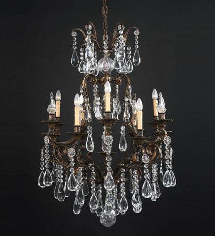 Classic Bohemian crystal chandelier with nine lights