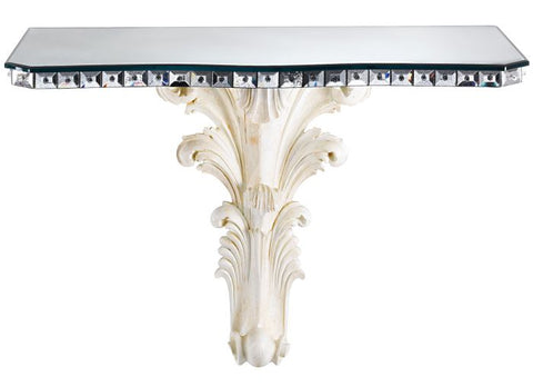 Venetian mirror console with hand-carved wooden base