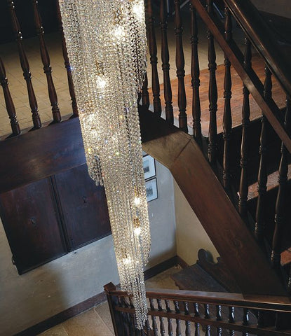 Two metre Italian lead crystal waterfall chandelier