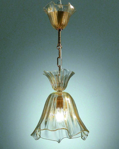 Traditional Murano glass pendant light with gold chain
