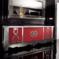 French art deco sideboard with red leather finish