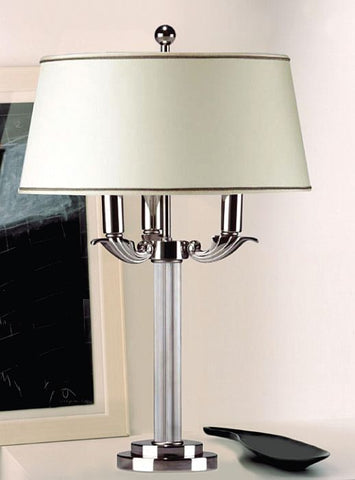 Classic Palladium table lamp with three lights and silk shade