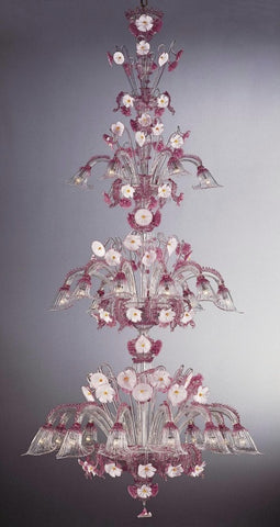 Large pink and white Murano crystal chandelier
