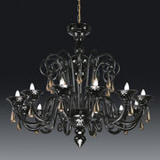 Twelve arm black Chandelier