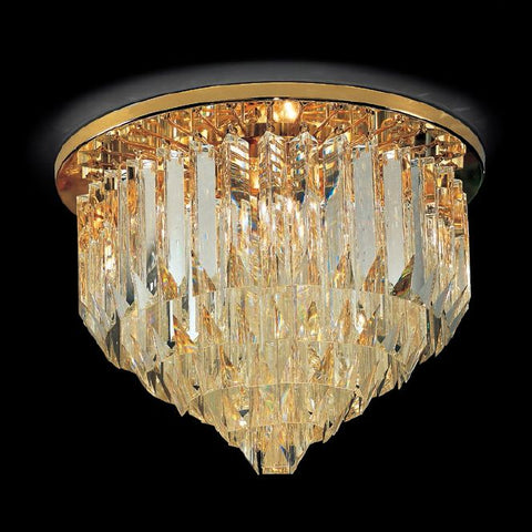 Lead crystal prism ceiling light with Murano glass options