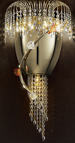 Divina gold wall light with Murano glass flowers