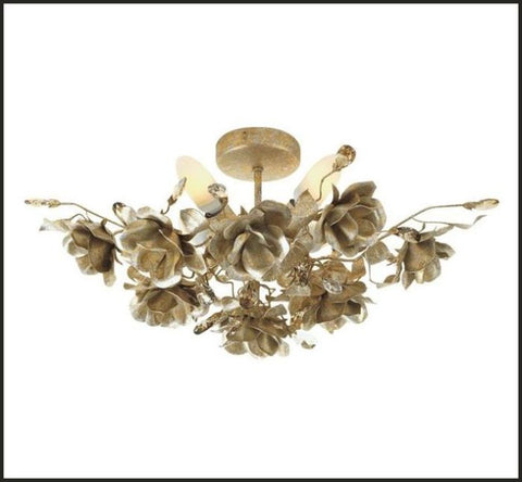 Gold & Silver Ceiling Light with Roses & Swarovski Elements