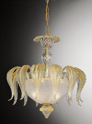 Venetian pendant with clear glass & gold leaves