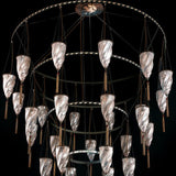 Huge Fortuny style Murano glass foyer chandelier with 30 lights