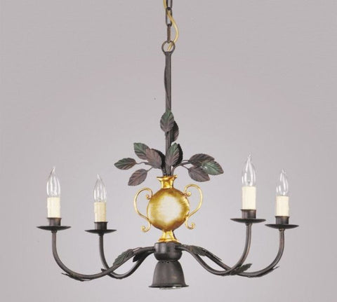 Four lamp black metal chandelier with gold vase design italian four lamp black metal chandelier with gold vase design aloadofball Image collections