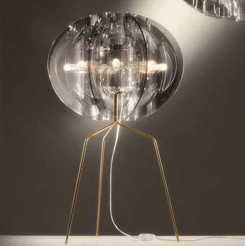 Light-reflecting ultra-modern smoke-grey table light from Italy