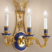 Antique French Gold and Blue Wall Light