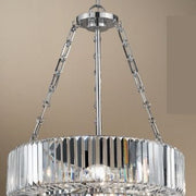 Polished Nickel and Crystal Pendant Light
