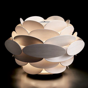 Gorgeous modern table light with unusual wooden diffuser