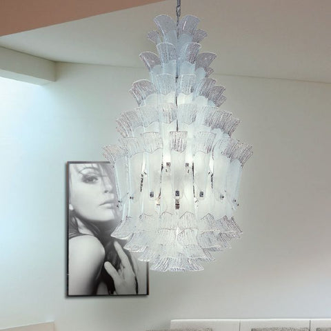 110 cm tall pink white or amber Murano glass chandelier