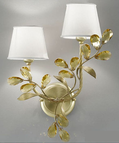 Light amber Scholer crystal wall lamp with cream shades
