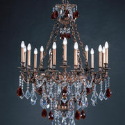 Brass 15 light chandelier with amber and clear crystals