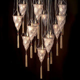 Fortuny style stairwell chandelier in Murano glass