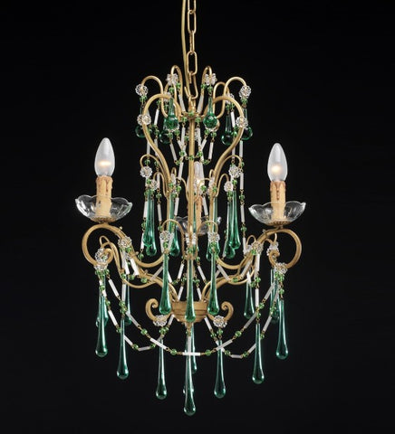 Gold Leaf and Green Crystal Chandelier