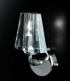 Contemporary chrome wall light with optical crystal 'shade'