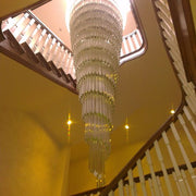 Tall glass prism hallway chandelier in custom sizes