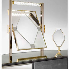 Art deco-style dressing table with illuminated Venetian mirror