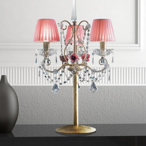 French gold table light with crystal droplets and pink shades