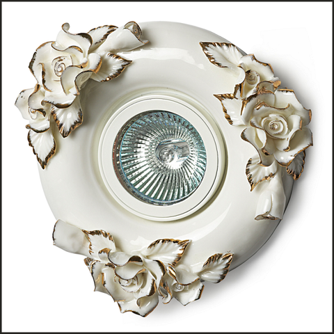 White and gold ceramic recessed ceiling light