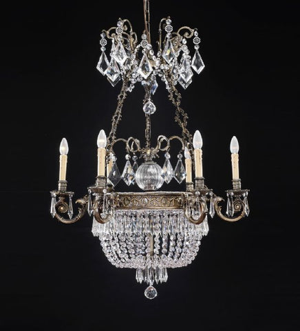 9 Light French Gold Chandelier with Crystals
