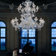 Spectacular large Murano glass chandelier with 24 lights