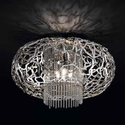 Metal filigree ceiling light fitting in bronze, gold or steel