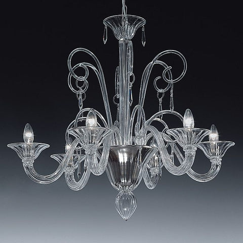 6 light clear Italian glass chandelier in the Venetian style