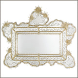 Decorative Venetian mantelpiece mirror with Murano glass