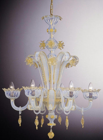 Murano glass 6 arm chandelier with blue and gold details