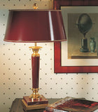 Laguna red marble table lamp from Italy with red shade