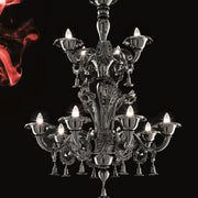 Black Murano Glass Two Tier Chandelier