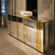 Sideboard with multi-coloured bands of Venetian mirrored glass