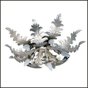 Silver Metal Leaves 5 Lamp Ceiling Light