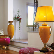 Large yellow majolica table lamp with taffeta shade