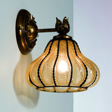 Antiqued amber Venetian glass wall lantern