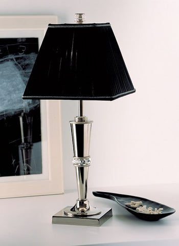 Italian palladium-plated table light with black pleated shade