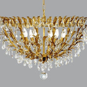 Classically Designed Gold Ceiling Light with Glass Crystals