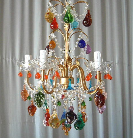 5 arm colourful Murano glass fruit chandelier