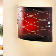 Etched glass modern wall light in autumn tones