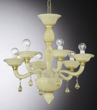 White and amber 6 light chandelier