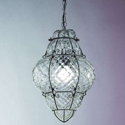 Clear Murano crystal 'baloton' ceiling lantern