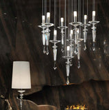 Clear, lilac or black crystal and chrome chandelier