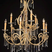 Artisan-crafted 9 light gold Italian chandelier