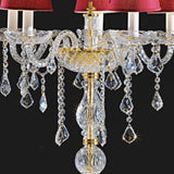 Gold flambeau table lamp with lead crystal pendants